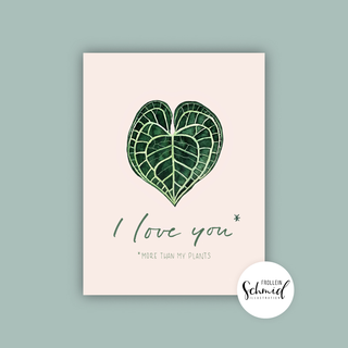 Postkarte A6 I love you by Frollein Schmid