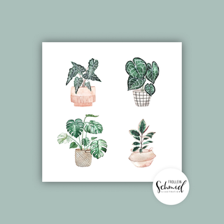 Postkarte 148x148mm potted plants by Frollein Schmid
