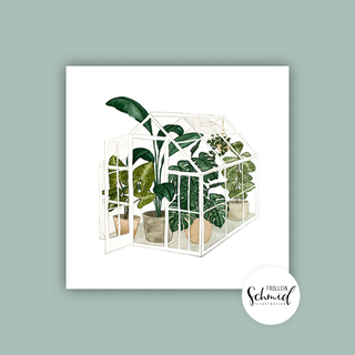 Postcard 148x148mm greenhouse by Frollein Schmid