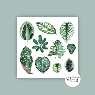 Postkarte 148x148mm leaves by Frollein Schmid